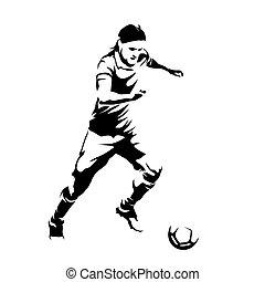 silueta, abstratos, jogador, executando, vetorial, bola futebol