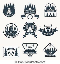 silueta, acampamento, set., etiquetas, vetorial, aventura, monocromático, tent., emblemas