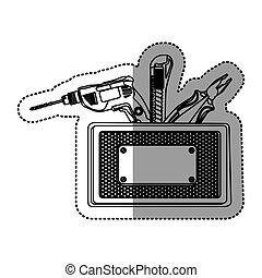 silueta, adesivo, grille, perfurado, metálico, ferramentas,...