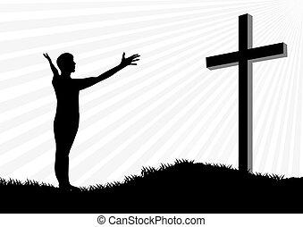 silueta, adoración