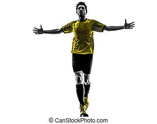 silueta, alegria, futebol, jovem, um, jogador, estúdio,...