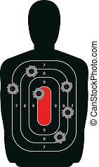silueta, alvo, buracos bala, arma, gama, tiroteio