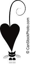 silueta, amor, gato, negro, diseño, su