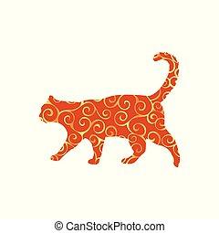 silueta, animal estimação, padrão, espiral, cor gato, animal