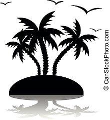 silueta, ao redor, ilha, voando, três, árvores, fundo, palma, gaivota, branca