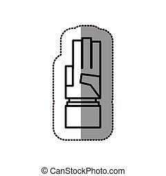 silueta, apontar, adesivo, dedos, cima, pretas, três, mão, contorno