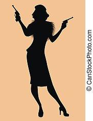 silueta, armado, elegante, guns., ropa, clásico, style., dama, estilo, llevando, retro, noir de la película