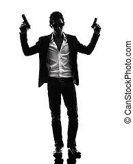 silueta, asesino, posición, pistolero, asiático