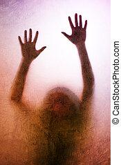 silueta, atrapado, espalda manos, lit, vidrio, mate, atrás, mujer