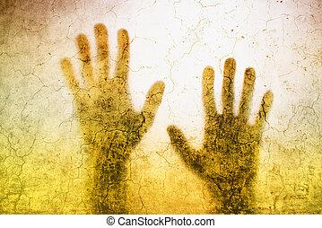 silueta, atrapado, espalda manos, lit, vidrio, mate, persona, atrás