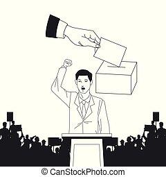 silueta, audiência, fala, fazer, votando, homem