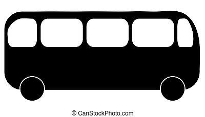 silueta, autobús, actuación, ilustración, vista lateral