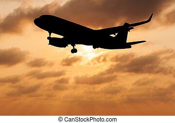 silueta, avião, ligado, obscurecido, céu, pôr do sol