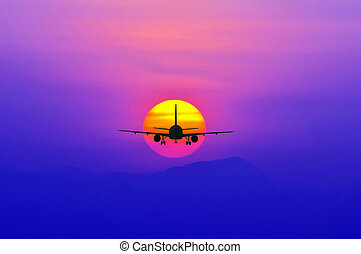 silueta, avião, voando, ligado, pôr do sol