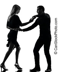 silueta, bailarines, bailando, hombre, salsa, mujer, pareja...