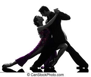 silueta, bailarines, salón de baile, mujer hombre, tangoing...