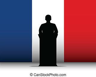 silueta, bandeira frança, tribuna, fundo, fala