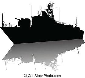 silueta, barco, alto, detallado