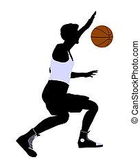 silueta, basquetebol, macho, ilustração, jogador