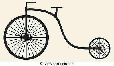 silueta, bicicleta vieja