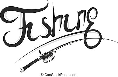silueta, bobina, cana de pesca