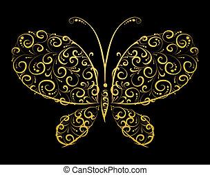 silueta, borboleta, dourado, desenho, tu