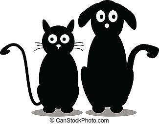 silueta, cão, gato