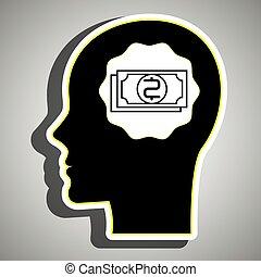 silueta, cabeça, contas, dólar