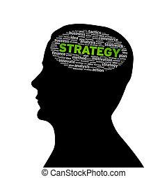 silueta, cabeça, -, estratégia