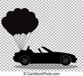 silueta, cabriolé, car, pretas, balões, transparente, grupo