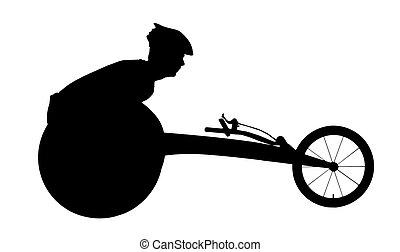 silueta, cadeira rodas, desportista, incapacitado, vetorial, correndo