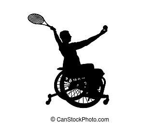 silueta, cadeira rodas, tênis, incapacitado, pessoa, vetorial, tocando