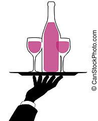 silueta, camarero, asideros, mano, bandeja, vino
