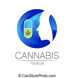 silueta, cannabis, marijuana, vetorial, logotype, planta, ...