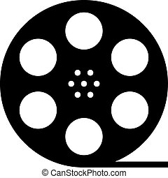 silueta, carrete, película, negro