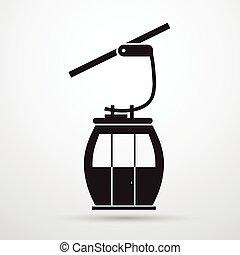 silueta, carro cabo, corda, pretas, maneira, transporte, ...