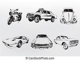silueta, cars.