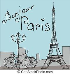 silueta, cartel, eiffel, bicicleta, vendimia, torre, style.