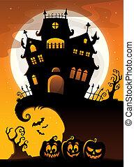 silueta, casa, 3, tema, halloween