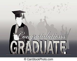 silueta, celebração, graduação