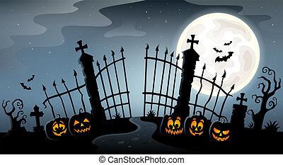 silueta, cementerio, tema, puerta, 4