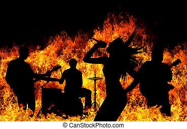 silueta, chamas, sobre, flamejar, faixa, rocha