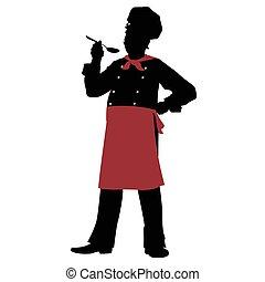 silueta, chef, -, ilustración