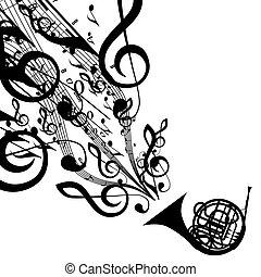 silueta, chifre francês, símbolos, vetorial, musical
