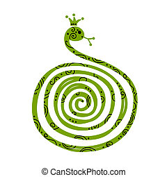 silueta, chino, símbolo, serpiente, año, nuevo, diseño, 2013