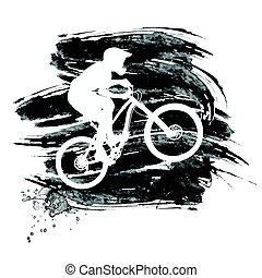 silueta, ciclista, bicicleta de equitación, montaña