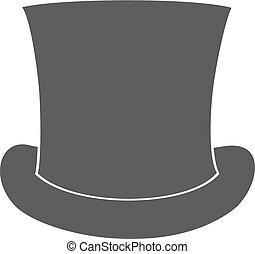 silueta, cima, aislado, fondo., vector, sombrero blanco