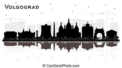 silueta, ciudad, rusia, white., volgograd, edificios,...