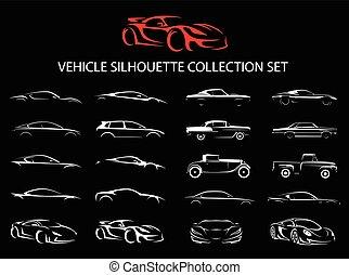 silueta, coche, set., colección, supercar, regular, vehículo