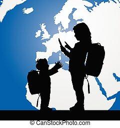 silueta, color, ilustración, planeta, migración, niños